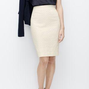 Cream Dot Jacquard Pencil Skirt